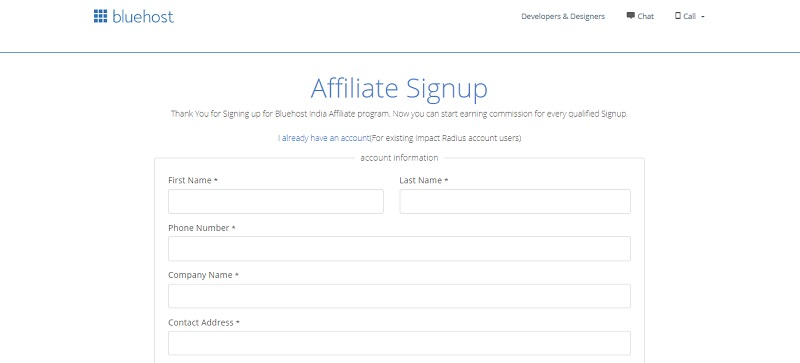 bluhost affiliate signup page