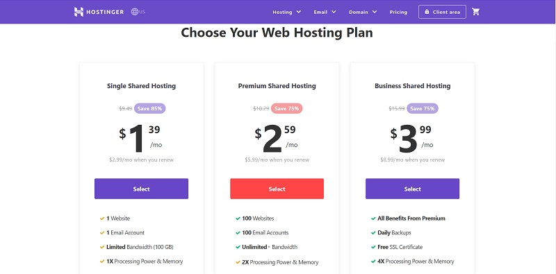 shared hosting plans of Hostinger